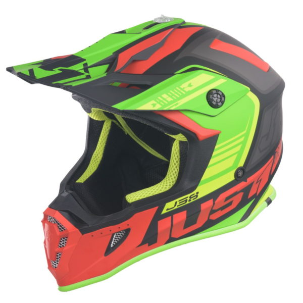 Just1 J38 Red Lime Black motorcycle helmet